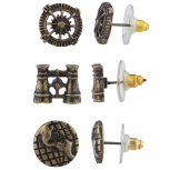 Burnish Gold Tone Steampunk World Traveler Stud Multi Pack 3PR