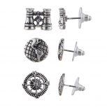 Burnish Silver Tone Steampunk World Traveler Stud Multi Pack 3PR