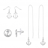 Silver Tone Anchor Nautical Assorted Multi Earring Set 3PC