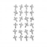 Silver Tone Faux Crystal Rhinestone Cross Stud Earring Set 12PR