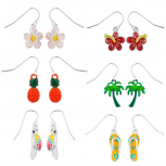 Silver Tone Summer Tropical Novelty Dangle Multi Earring Set 6PC