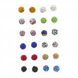 Multicolor fireball Faux Rhinestone Earring Multi Pack Set 12PR