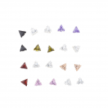 Silver Tone Triangle Rhinestone Earring Multi Pack Set 10PR