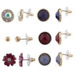 Gold Tone Blue Wine Flower Multi Earring Stud Set 6PR
