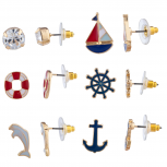 Gold Tone Enamel Nautical Anchor Ship Multi Earring Stud Set 6PR