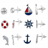 SilverTone Enamel Nautical Anchor Ship Multi Earring Stud Set 6