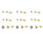 Gold Tone Faux rhinestone Solitaire Stud Multi Earring Pack 9PCS
