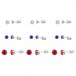 Silver Tone 4th of July Solitaire Stud Multi Earring Pack 9PCS