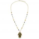 Elegant Arrowhead Spear Hamsa Evil Eye Pendant Necklace