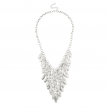 Glitter Layered Fringe Chain Statement Necklace.