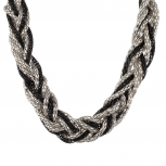 Black & Silver Mesh Braided Statement Necklace.