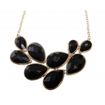 Faceted Black Teardrop Stone Bib Gold Chain Necklace