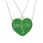 Bestie BFF Forever Best Friends Green Heart Necklaces (2 PC)