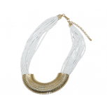 Spiral Spring White Multi Bead Chain Necklace