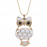 Gold Tone White Enamel Owl Novelty Charm Pendant Necklace