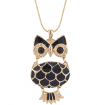 Gold Tone Black Enamel Owl Novelty Charm Pendant Necklace