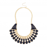 Posh Faceted Stone Bib Statement Necklace