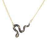 Gold Tone Black Enamel Crystal Rhinestone Snake Serpent Necklace