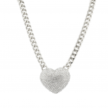 Large Pave Crystal Heart Chain Link Necklace Bling Iced Out.