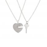 BFF Unlock My Heart Lock Key Charm Best Friends Pendant Chain Necklace Set (2 PC)