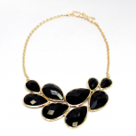 Large Black Stone Chain Necklace