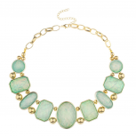 Elegant Mint Green Stone Bib Necklace