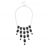 Black Layered Bib Statement Necklace.