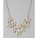 Kids Girls Ivory & Gold Flower Bib Necklace