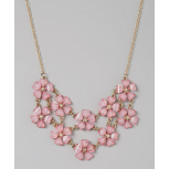 Hot Pink & Gold Flower Bib Necklace