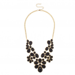 Black Faceted Cavier Teardrop Stone Bib Statement Necklace