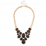 Black Faceted Stone Cluster Double Chain Link Statement Bib Necklace