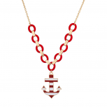 Red and  White Large Anchor Nautical Necklace