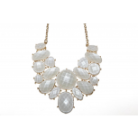 White Faux Stone Bib Statement Chain Necklace
