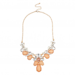 Pink Peach Clear Faceted Stone Cluster Statement Necklace