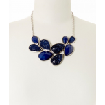 Navy Faceted Teardrop Necklace