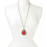 Gold & Coral Cabochon Pendant Necklace