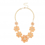 Faceted Peach Appricot Stone Floral Bib Flower Necklace