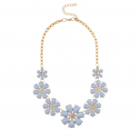 Pastel Blue Pave Flower Bib Statement Floral Chain Necklace