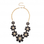 Faceted Black Stone Floral Bib Flower Necklace