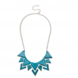 Turquoise & Silver Spiked Chain Statement Necklace