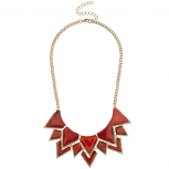 Gold Tone Red Spike Faux Semi Precious Statement Bib Necklace