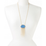 Gold & Blue Fringe Pendant Necklace