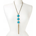 Turquoise Tiered Tassel Fringe Necklace