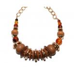 Orange Yellow Amber Beaded Chain Necklace