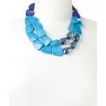 Blue Crackled Stone Two-Strand Necklace