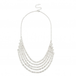 Bridal Statement Crystal Pave Multi Row Necklace