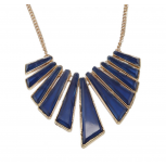 Blue Triangle Geometric Stone Chain Statement Bib Necklace