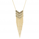 Goldtone Geo Tassel Fringe Fashion Jewelry Pendant Necklace