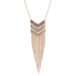 Rose Goldtone Geo Tassel Fringe Fashion Jewelry Pendant Necklace