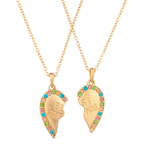 Multi Color BFF Best Friends Forever Heart Pedant Necklaces (2 PC).